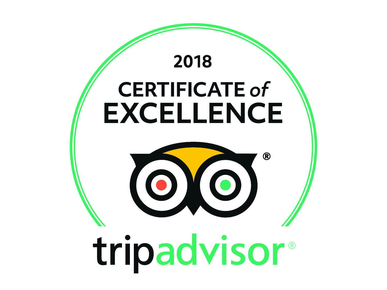 2018 Marble Zip Tours Trip Advisor's Certificate of Excellence